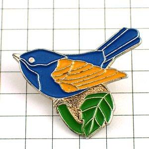 限定 レア ピンバッジ 青い小鳥と緑の葉っぱ ピンズ フランス