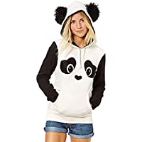 WLLW Women's Long Sleeve Hooded Panda Hoodie Sweatshirt Tops Blouse Outerwear