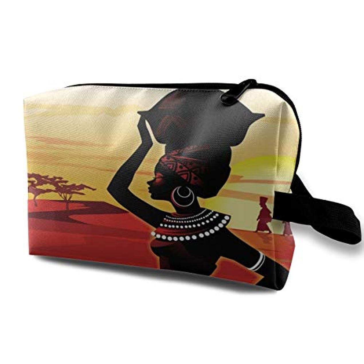 未来議会酔っ払いOil Painting Art African Woman 収納ポーチ 化粧ポーチ 大容量 軽量 耐久性 ハンドル付持ち運び便利。入れ 自宅?出張?旅行?アウトドア撮影などに対応。メンズ レディース トラベルグッズ