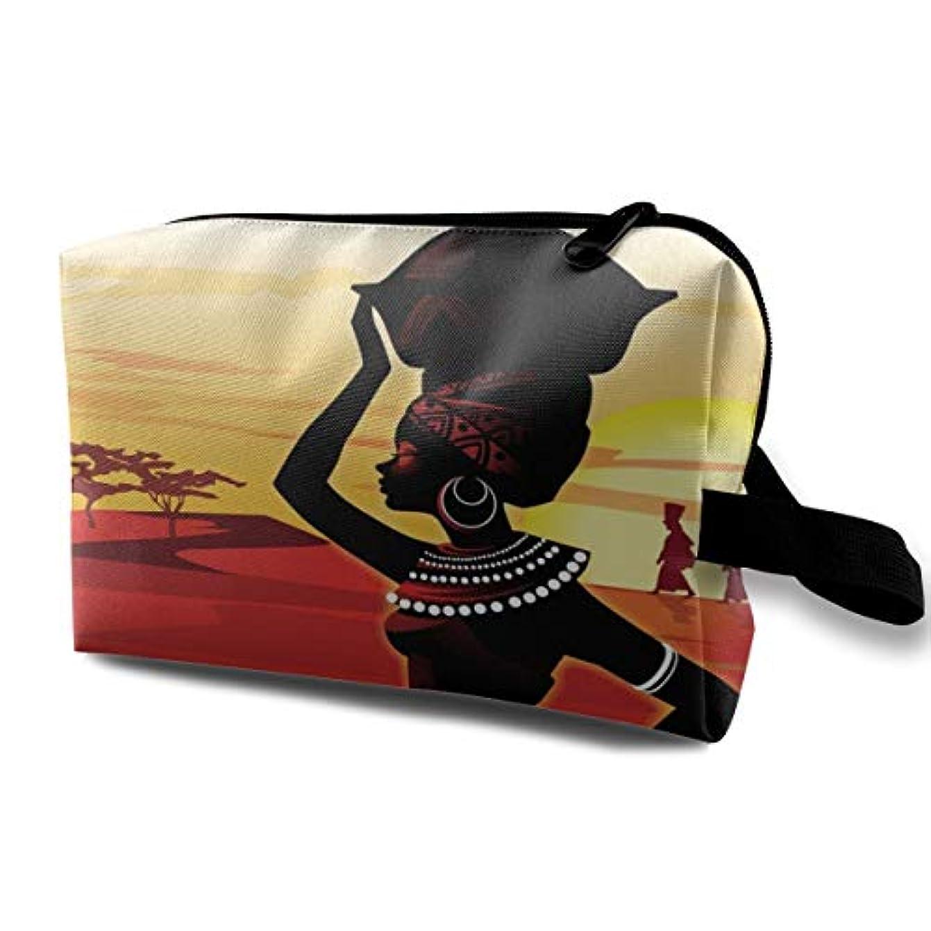 じゃがいもトレーニングと遊ぶOil Painting Art African Woman 収納ポーチ 化粧ポーチ 大容量 軽量 耐久性 ハンドル付持ち運び便利。入れ 自宅?出張?旅行?アウトドア撮影などに対応。メンズ レディース トラベルグッズ