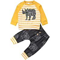 Xiaodriceee Newborn Baby Boy Fall Clothes Set Long Sleeve Cartoon Animal Striped Shirt+Long Pants 2Pcs Outfits Tacksuit