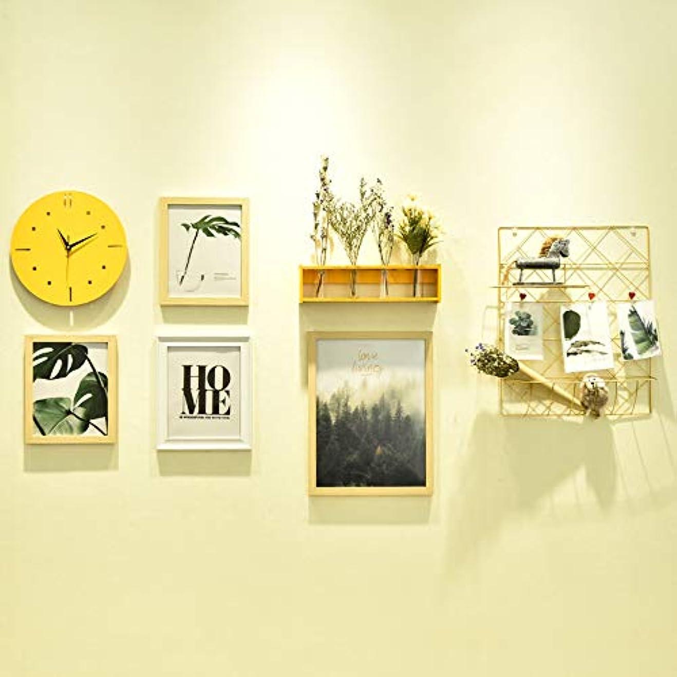 潜むスクリーチ食事写真の壁現代のミニマリストの組み合わせシャムフォトフレーム壁掛けリビングルームの寝室の壁時計の組み合わせフォトフレーム