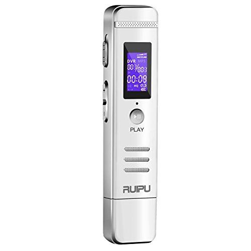 USB ボイスレコーダー 8GB メモリ大容量 3072KBPS ICレコーダー 録音機 (内蔵スピーカー&イヤホン付き 高音質 2年保証&日本語説明書付き)