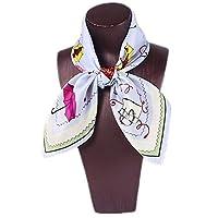 レディース洗えるシルクスクエア 女性の100%シルクサテンプリントスモールスクエアスカーフシルクワイルドスモールスクエアタオルナチュラル抗アレルギー 制服用オフィススカーフ (色 : Color3)