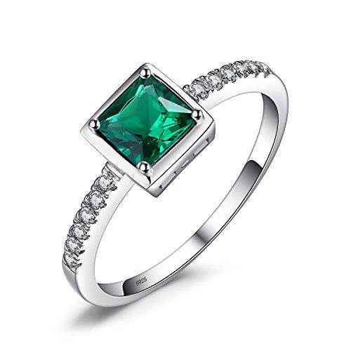 JewelryPalace グリーン 人工 エメラルド 指輪 5月 誕生石 シンプル デザイン ソリティア 925 スターリングシルバー リング 婚約 結婚式 アクセサリー サイズ 16号
