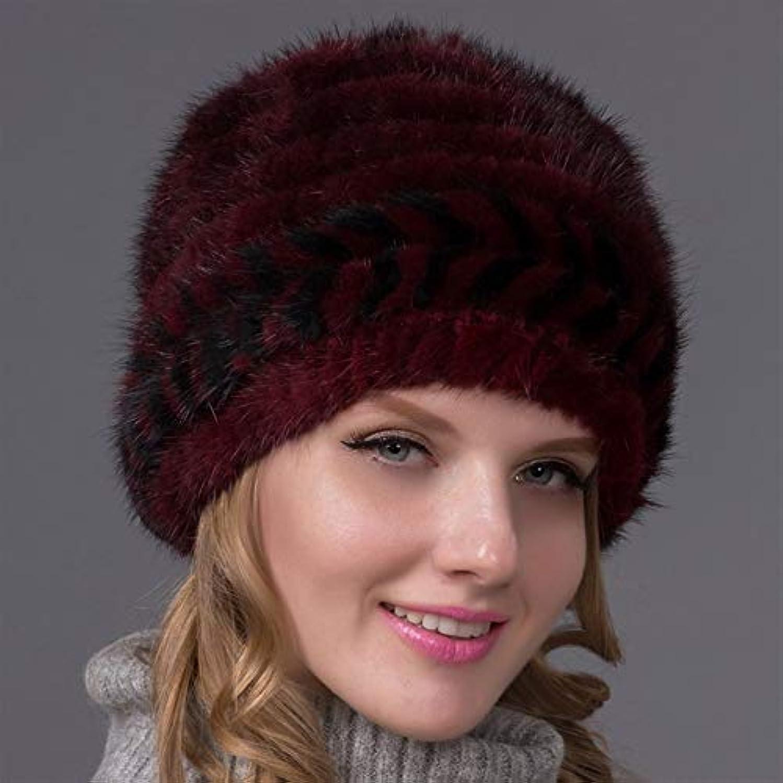剛性凝縮する研磨剤ACAO 女性の冬のニット帽子ニットミンクの毛皮の帽子の女性のファッションスペルカラー厚く暖かい毛皮の帽子の耳 (色 : Red wine, Size : M)