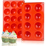 Silicone Baking Molds,Bakeware Set,2 Pack Muffin Cupcake Baking Pan for Cake Jelly Pudding Chocolate Making Desserts Servings Domed Treats Semicircle Design Non Stick Heat Resistant(Semi Sphere)