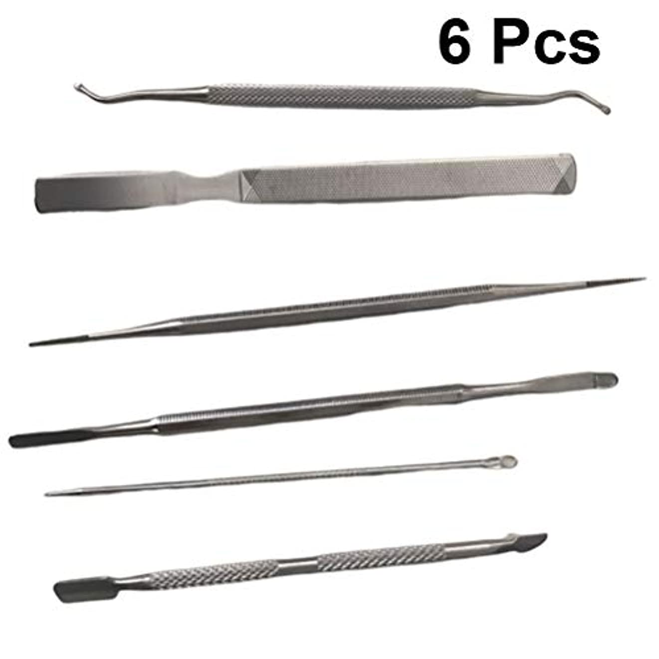 増幅腹痛羊飼いLurrose 6ピースマニキュアペディキュアツールセットプロのステンレス鋼ネイルツールキューティクルニッパープッシャーに成長した爪のファイルネイルアートキット用爪爪