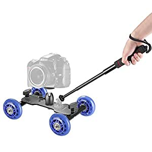 Neewer カメラ用ドリー台車キット 内容:移動撮影台車スライダー+ミニ自由雲台+4段階拡張可能手持ち式一脚 スティック 自撮り棒 Nikon Canon Sony DSLRs、動画とカムコーダに適合