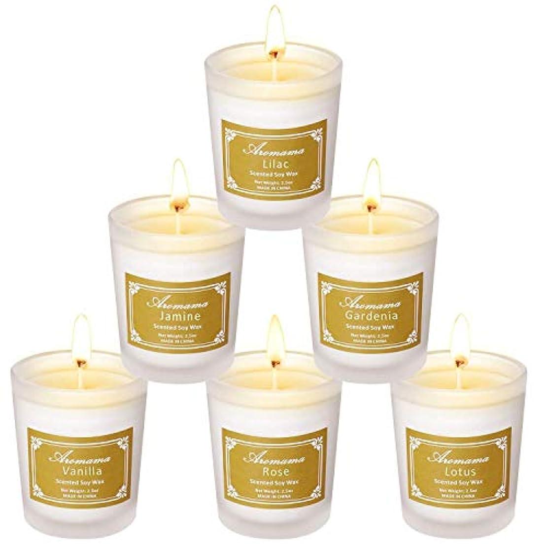 実業家フォーマットモニター処置 香りのキャンドルナチュラルソイワックスキャンドルグラスアロマの6セット