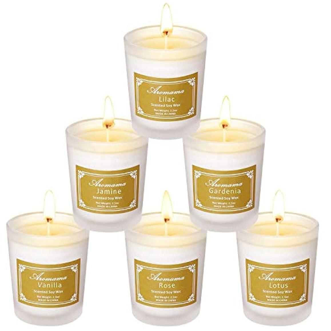 盲信比較有益なLucy Day 香りのキャンドルナチュラルソイワックスキャンドルグラスアロマの6セット