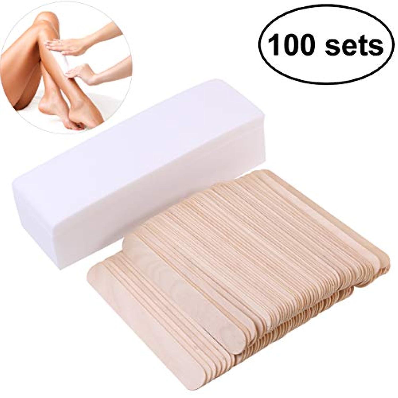 医薬品建設精緻化ROSENICE 100PCS 脱毛ワックスシート 使い捨て スティック付き