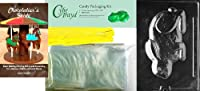 "Cybrtrayd"" Fuzzy Squatting Bunny""イースターチョコレート型Chocolatierのバンドル、Includes 50チェロバッグ、50イエローツイスト紐とガイド"