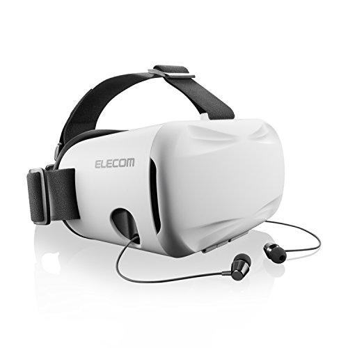 エレコム VR ゴーグル VRグラス ヘッドマウント用 インナーイヤータイプ 【カメラレンズを遮らない透明カバーを採用】ホワイト P-VRGEI01WH