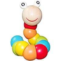 木製Caterpillarおもちゃ、レインボーカラフルなねじれCaterpillarクロールおもちゃfor Toddlers Baby教育木製おもちゃ子供指柔軟なトレーニングWorm Toys