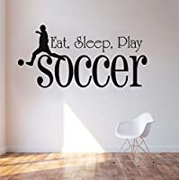 Mingld 食べる睡眠プレイサッカーウォールステッカー用キッズルームスポーツブラックPvc防水壁紙デカール男の子寝室の家の装飾28×57センチ