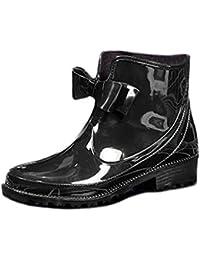 (モデルノ ラ テール) Moderno La Terre 防水 レイン ブーツ ショート タイプ ロー ヒール リボン 付き 雨靴 通勤 レディース ML-RBLS