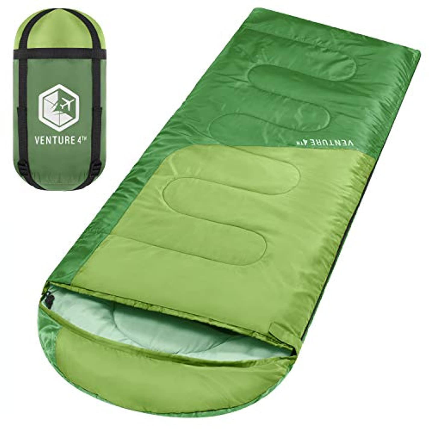 チャンスお気に入り遡るVENTURE 4TH バックパッキング寝袋 - 軽量、快適、防水、3シーズン - ハイキング、キャンプ、アウトドアアドベンチャー (大人&子供)