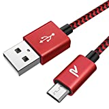 【2m】 Rampow Micro USBケーブル 2.4A急速充電   高速データ転送対応 5000+回の曲折テスト 高耐久編組ナイロンケーブル Android microusb対応 マイクロusbケーブル 赤い
