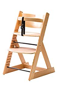 【笑顔のプレミアムベビーチェアー】6か月頃~大人まで 安心強度の三角形ベース マジカルチェアー 赤ちゃん用木製椅子 安全ベルト付きダイニングチェアー(ナチュラル色)