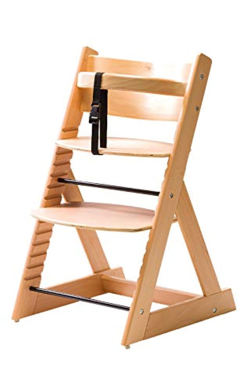 笑顔のダイニングベビーチェアー【マジカルチェアー】安心強度の三角形ベース プレミアム木製椅子 (ナチュラル色)