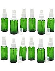 遮光瓶 スプレーボトル (グラス/アトマイザー) 30ml グリーン/ホワイトヘッド 12本セット 【 新品アウトレットセール 】