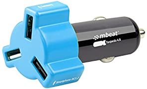 mbeat Portable 3-Port 4.8A 24W Rapid Car USB Fast Charger for Smartphones, Apple and Tablets - Blue Colour