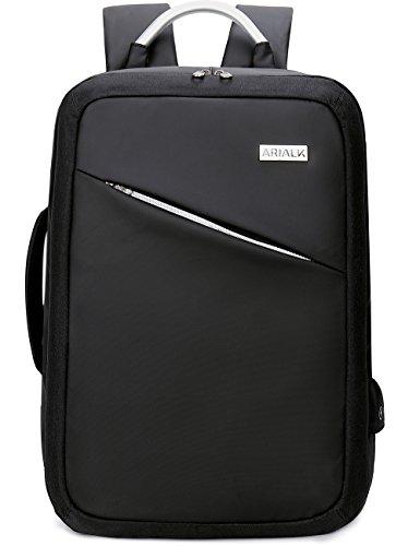[ARIALK] リュック リュックサック 【ポケット増設】 USB充電ポート メンズ 15.6インチ 仕切りが多くあって整理して収納 (ブラック)