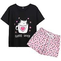 YIJIU Women's Cute Coffee Cat Sleepwear Short Sleeve Tee and Shorts Pajama Set