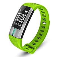 スマートブレスレットスポーツブレスレット歩数計心拍数血圧計心電図bluetoothフィットネストラッカー,Green