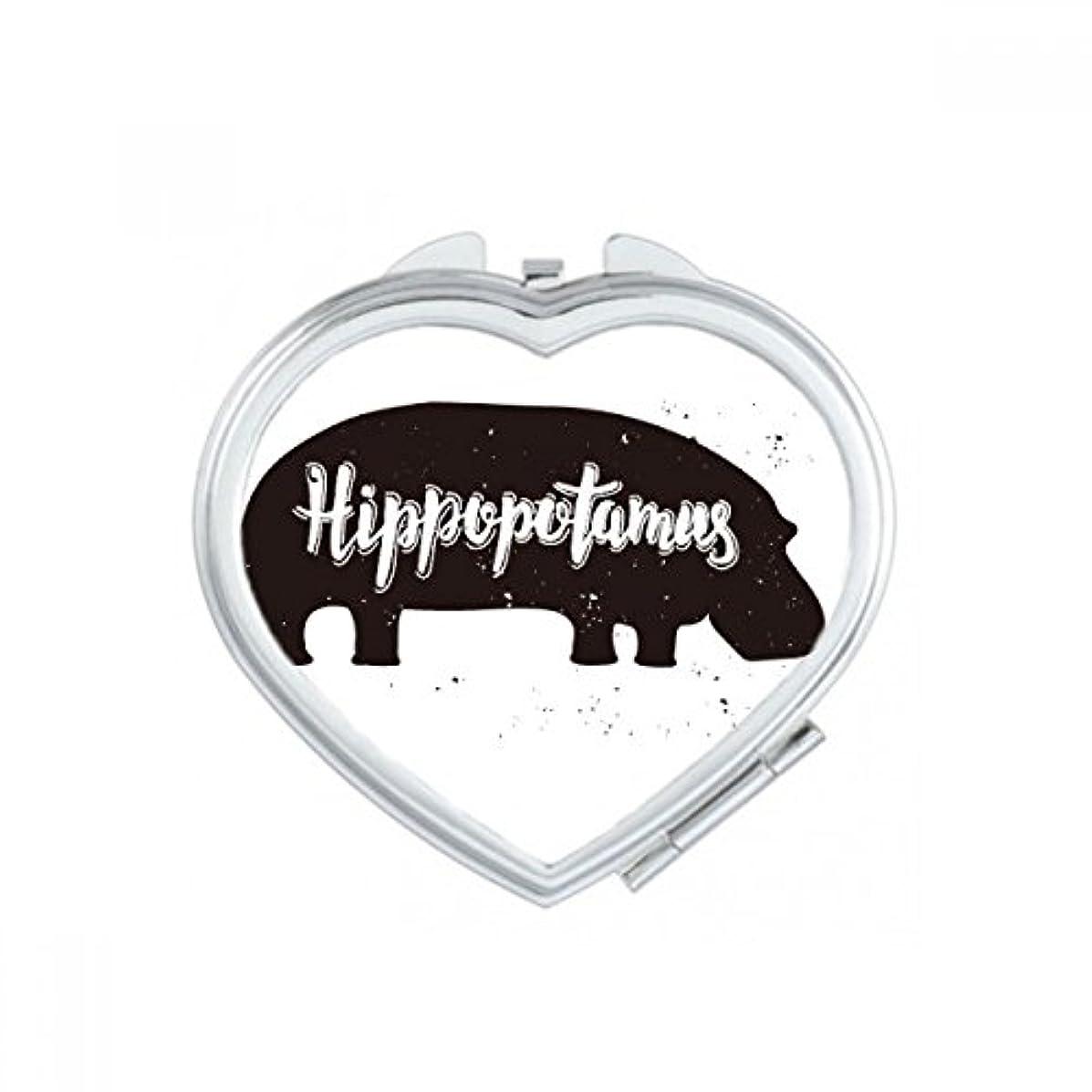 神秘的な恋人雑種カバの黒と白のシャドー動物スケッチ ハートコンパクト化粧ポケットミラー携帯用の小さなかわいいハンドミラープレゼント