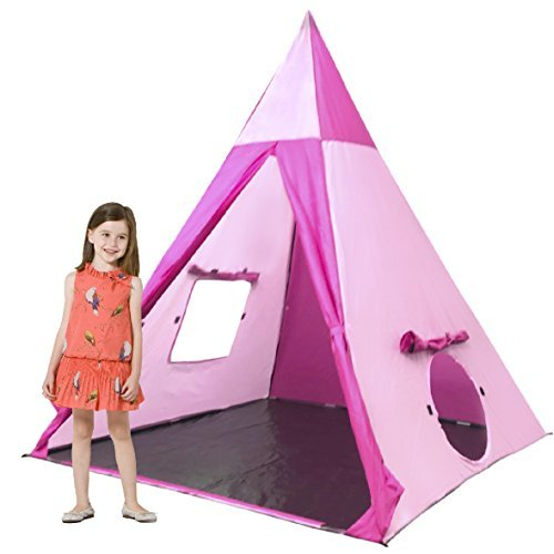 (Pvc Teepee - Pink & Magenta) - EasyGo Products Indoor Tee Pee Tent - Play Teepee Tent for Kids with Five Wood Poles and Carry Bag - Five-Sided Walls with Door, Window and Floor (PVC TeePee - Pink & Magenta)