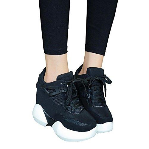 [RSWHYY] レディース スニーカー 春夏 スポーツ 軽い 運動靴 トレーニング 身長アップ スタイリッシュ お洒落 ユニ ブラック 24.5cm