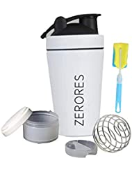 ZERORESステンレススチールスポーツウォーターボトルシェーカーカップ、漏れ防止、BPAフリー(白) 600ML