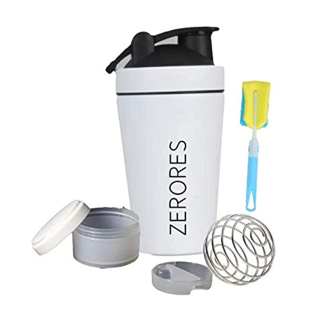 風刺カバー一回ZERORESステンレススチールスポーツウォーターボトルシェーカーカップ、漏れ防止、BPAフリー(白) 600ML