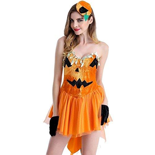 パンプキン プリンセス ハロウィンかぼちゃ レディース ウィッチ カボチャ かわいい 魔女っ子 ハロウィン仮装衣装 コスプレコスチューム 人気 コスチューム 大人用 かぼちゃドレス 帽子付きセット (オレンジ)
