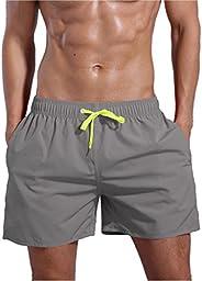QRANSS Men's Quick Dry Swim Trunks Bathing Suit Beach Sh