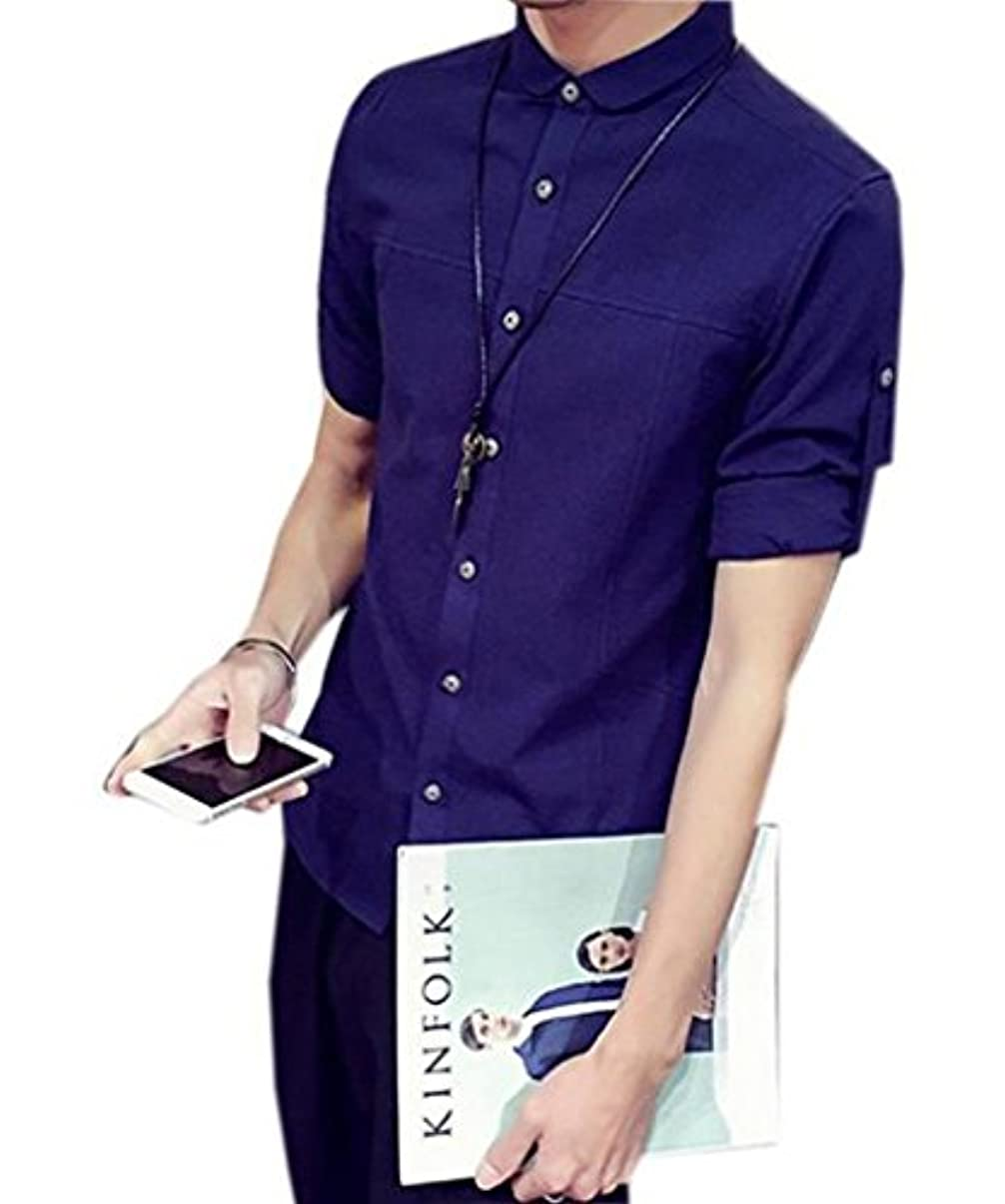 ベアリング竜巻究極のGuDeKe 夏 綿 シャツ メンズ リネン リネンシャツ トップス 七分丈 半袖 シンプル 襟 カジュアルシャツ カラーシャツ スリム