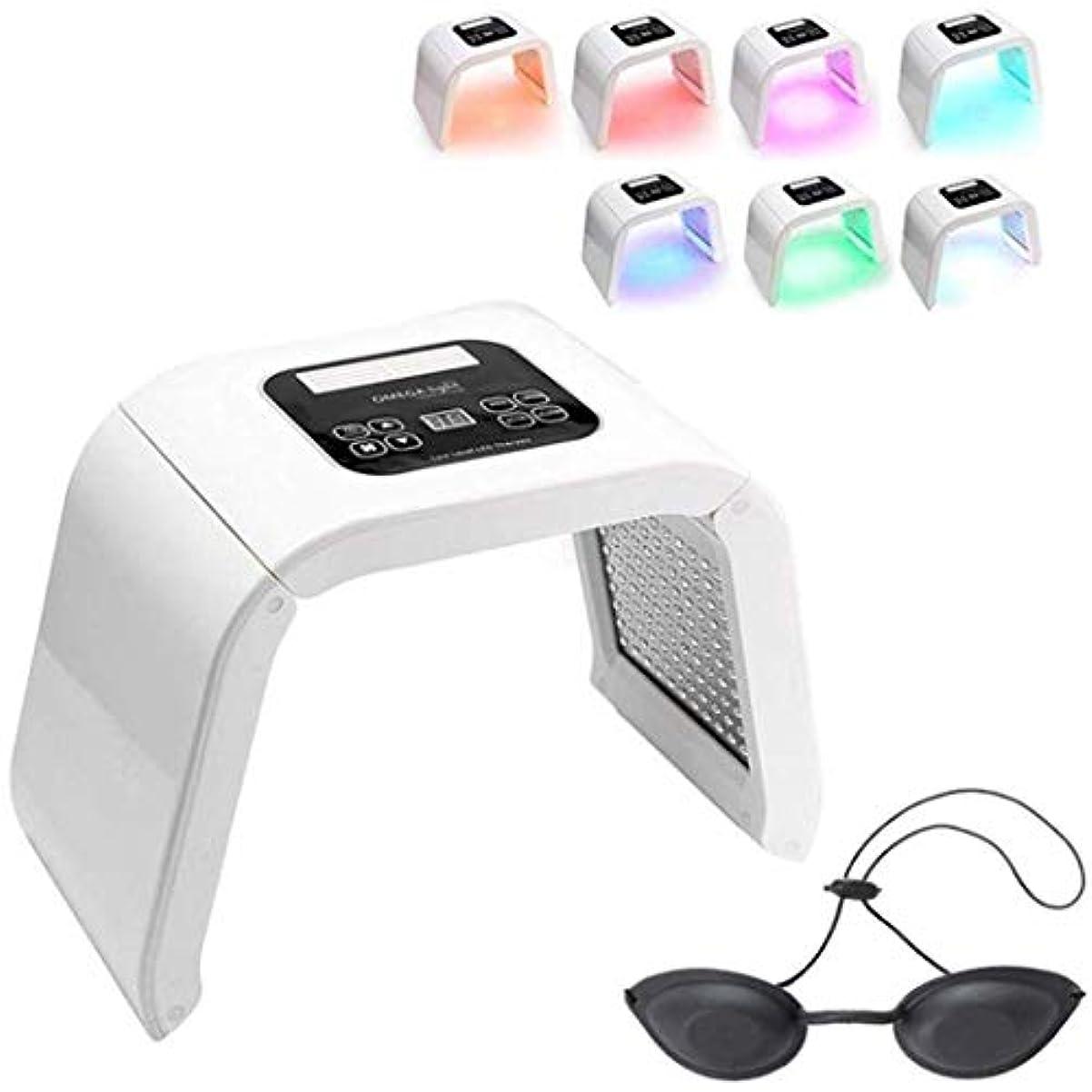 テーブルを設定する避難する扇動7色のLED美容機、ホームサロン使用のためのポータブル光子PDTにきび治療しわ除去アンチエイジングフェイシャルケア美容機器