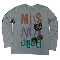 """マイケル・ジャクソンは永遠です パンクスには馴染みの文句""""PUNK IS NOT DEAD""""。こいつをスーパースター、マイケルにかけたデザイン ロングスリーブ Tシャツ (XL, MELANGEBLACK)"""