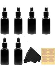 30 Ml (1 fl oz) Black Glass Essential Oil Bottles with Eye Droppers, 6 Pack [並行輸入品]