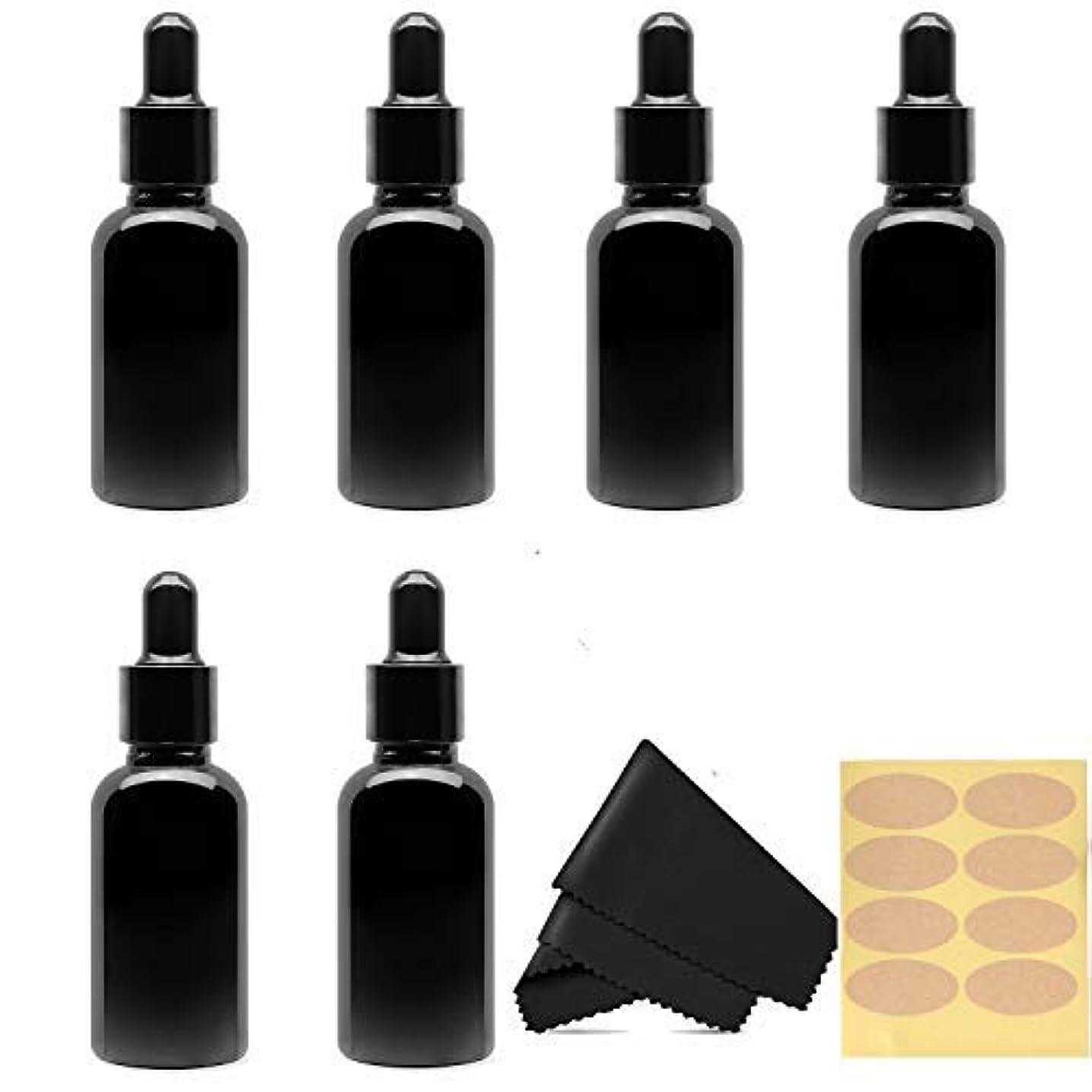 上院推測太字30 Ml (1 fl oz) Black Glass Essential Oil Bottles with Eye Droppers, 6 Pack [並行輸入品]