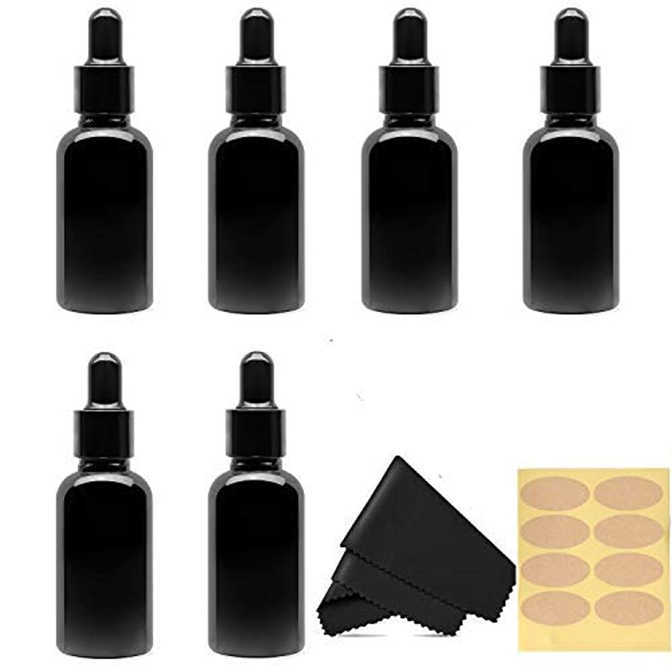 染料絡み合い一般的に30 Ml (1 fl oz) Black Glass Essential Oil Bottles with Eye Droppers, 6 Pack [並行輸入品]