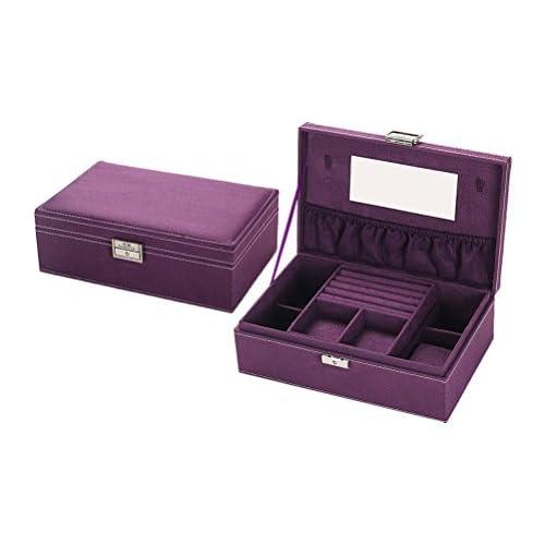 idoranceジュエリーボックスクラシックジュエリーレトロオーガナイザーwithミラー、マルチカラーオプション、9.8 X 6.3 X 3.3inch 9.8Lx6.3Wx3.3H パープル SB-20161129-12-purple
