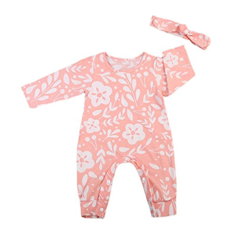 0-2歳設定 女の子 ベビー服 長袖 ロンパース 綿 フラワーパターン ピンク (80, ピンク)