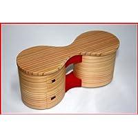 秋田杉 大館曲げわっぱ 弁当箱 花二段(朱) 日本製 漆器 杉 保湿 天然木製 国産 天然木 女性 男性