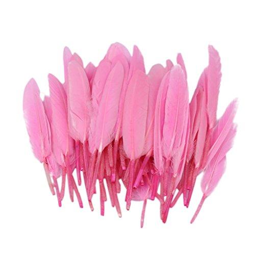 Perfk 50本 染め 染色 羽毛 フェザー ガチョウの羽 工芸品 ヘッドギア 装飾用羽 DIY アクセサリー 手芸 画材 全8色選べ - ピンク