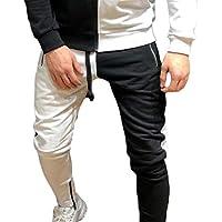chenshiba Men Color Block Contrast Color Slim Fit Drawstring Workout Jogger Track Pants