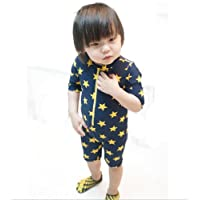 超可愛い子供服 水着 帽子付き 2点セット 子供 男児 水着 ラッシュガード 男の子 キッズ水着 星柄 キッズ mall-online (110-115cm)