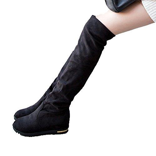 ワンース (Wansi) レディース ロング ブーツ ウインターストレッチブーツ 靴 秋冬 カジュアル ファッション 脚やせ 厚底 長靴 シューズ 24.5CM ブラック